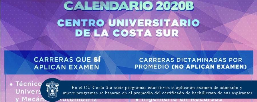En el CU Costa Sur siete programas educativos sí aplicarán examen de admisión